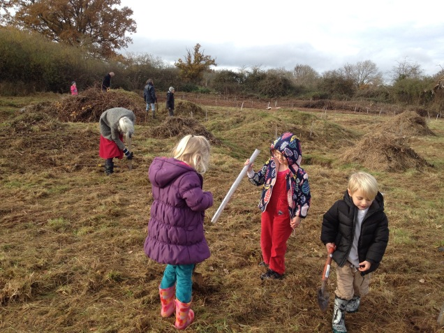 November 2016 – planting party on Vauxhall Fields; in the background is our star tree planter, Roger Hoggins