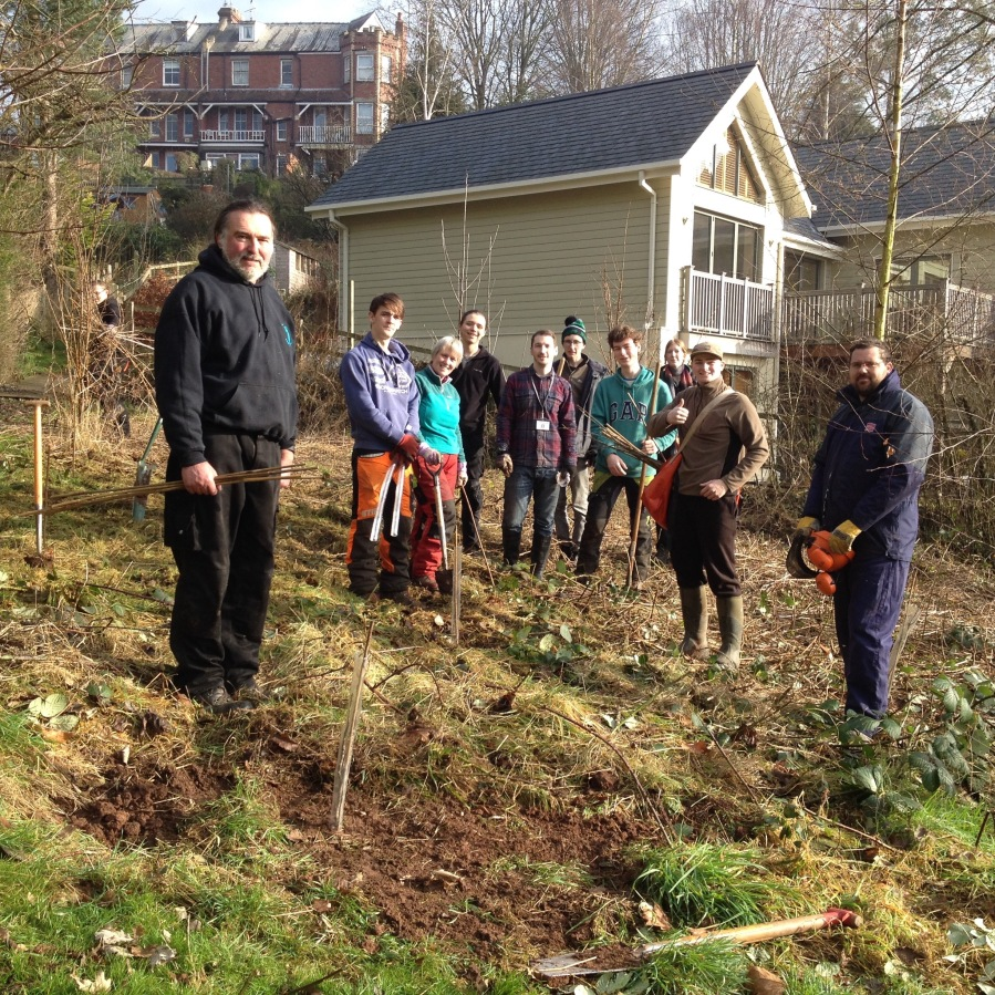 January 2017 – site clearance + tree planting by students from Coleg Gwent at Monmouth Cemetery